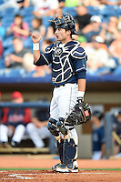 Lake County Captains catcher Eric Haase (13) during a game against the Dayton Dragons on June 7, 2014 at Classic Park in Eastlake, Ohio.  Lake County defeated Dayton 4-3.  (Mike Janes/Four Seam Images)