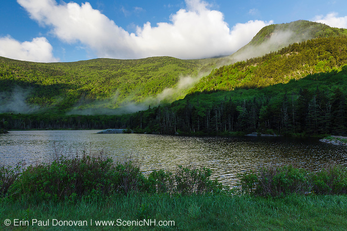 Beaver Pond in Kinsman Notch of the White Mountains, New Hampshire USA during the spring months. Jakey's Crag is in the background.