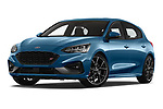 Stock pictures of low aggressive front three quarter view of a 2019 Ford Focus ST Base 5 Door Hatchback