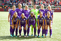 Portland, OR - Saturday October 07, 2017: Orlando Pride starting 11 during a National Women's Soccer League (NWSL) semifinals match between the Portland Thorns FC and the Orlando Pride at Providence Park.