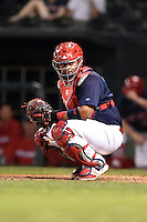 Memphis Redbirds catcher Audry Perez (40) looks to the dugout during a game against the Oklahoma City RedHawks on May 23, 2014 at AutoZone Park in Memphis, Tennessee.  Oklahoma City defeated Memphis 12-10.  (Mike Janes/Four Seam Images)