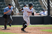 Mitch Roman (10) of the Kannapolis Intimidators hustles down the first base line against the Hagerstown Suns at Kannapolis Intimidators Stadium on July 9, 2017 in Kannapolis, North Carolina.  The Intimidators defeated the Suns 3-2 in game one of a double-header.  (Brian Westerholt/Four Seam Images)