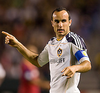 LA Galaxy forward Landon Donovan (10) scores the first goal of the game and celebrates with his teammates. The LA Galaxy defeated Real Salt Lake 2-0 at Home Depot Center stadium in Carson, California on Saturday April 17, 2010.  .