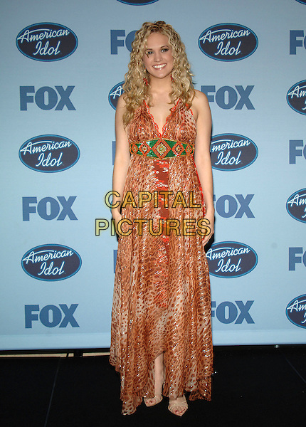 "CARRIE UNDERWOOD - AMERICAN IDOL WINNER.""American Idol"" Season 4 Finale held at The Kodak Theatre..May 25th, 2005.Photo Credit: Jacqui Wong/AdMedia.full length animal print leopard print dress.www.capitalpictures.com.sales@capitalpictures.com.© Capital Pictures."