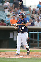 Tyler White #24 of the Lancaster JetHawks bats against the Lake Elsinore Storm at The Hanger on August 2, 2014 in Lancaster, California. Lake Elsinore defeated Lancaster, 5-1. (Larry Goren/Four Seam Images)