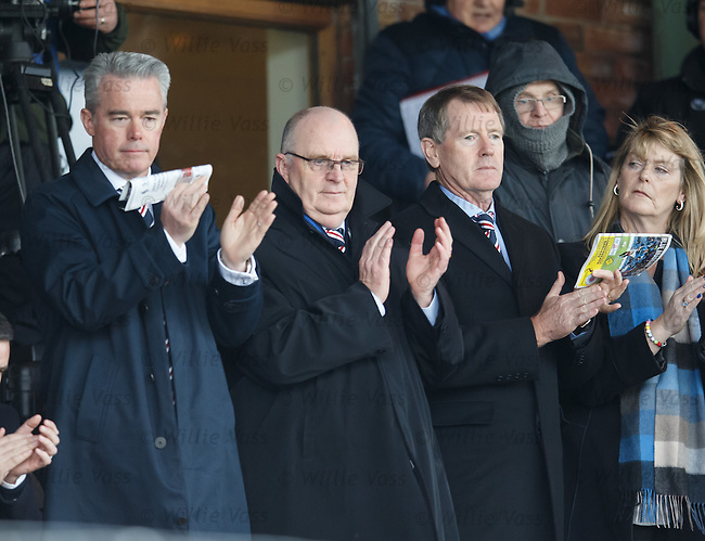 Paul Murray, John Gilligan and Dave King applaud as the teams emerge