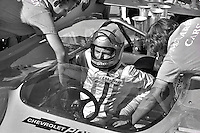 Peter Revson prepares to drive the 1971 McLaren Chevrolet in the SCCA Can-Am event at Le Circuit Mont Tremblant, St. Jovite, Quebec, Canada.