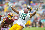 Landover, MD - September 23, 2018: Green Bay Packers wide receiver Randall Cobb (18) drops a pass during the  game between Green Bay Packers and Washington Redskins at FedEx Field in Landover, MD.   (Photo by Elliott Brown/Media Images International)