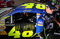 Sept. 19, 2008; Dover, DE, USA; Nascar Sprint Cup Series driver Jimmie Johnson during qualifying for the Camping World RV 400 at Dover International Speedway. Mandatory Credit: Mark J. Rebilas-