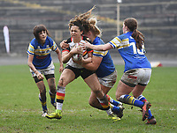 Picture by Anna Gowthorpe/SWpix.com - 15/04/2018 - Rugby League - Womens Super League - Bradford Bulls v Leeds Rhinos - Coral Windows Stadium, Bradford, England - Bradford Bulls' Savannah Andrade is tackled by Leeds Rhinos' Dannielle Anderson