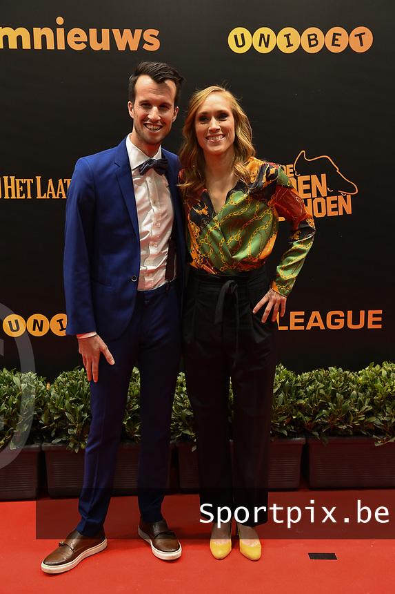 20190116 – PUURS ,  BELGIUM : Janice Cayman (R) pictured during the  65nd men edition of the Golden Shoe award ceremony and 3th Women's edition, Wednesday 16 January 2019, in Puurs Studio 100 Pop Up Studio. The Golden Shoe (Gouden Schoen / Soulier d'Or) is an award for the best soccer player of the Belgian Jupiler Pro League championship during the year 2018. The female edition is the thirth one in Belgium.  PHOTO DIRK VUYLSTEKE   Sportpix.be