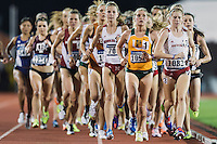 Anna Peer of Nebraska, Jana Soethout of San Francisco, Amber Eichlorn of South Dakota and Hillary Montgomery of Texas A&M compete in 10000 meter semifinal during West Preliminary Track and Field Championships, Friday, May 29, 2015 in Austin, Tex. (Mo Khursheed/TFV Media via AP Images)