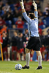 07 December 2012: Georgetown's Tomas Gomez celebrates making his first penalty shootout save. The University of Maryland Terrapins played the Georgetown University Hoyas at Regions Park Stadium in Hoover, Alabama in a 2012 NCAA Division I Men's Soccer College Cup semifinal game. The game ended in a 4-4 tie after 2 overtimes. Georgetown advances to the Championship game 4-3 on penalty kicks.