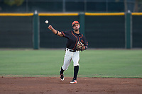 AZL Giants Black shortstop Enoc Watts (83) throws to first base during an Arizona League game against the AZL Angels at the San Francisco Giants Training Complex on July 1, 2018 in Scottsdale, Arizona. The AZL Giants Black defeated the AZL Angels by a score of 4-2. (Zachary Lucy/Four Seam Images)