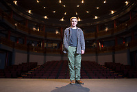 Occidental College student Billy Schmidt '17 poses on Feb. 6, 2017 in Keck Theater. Billy has a play that will be performed at the next New Play Festival. (Photo by Marc Campos, Occidental College Photographer)