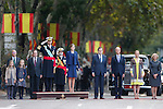 King Felipe VI of Spain, Princess Sofia of Spain, Princess Leonor of Spain, Queen Letizia of Spain, Mariano Rajoy, Manuela Carmena and Cristina Cifuentes during Spanish National Day military parade in Madrid, Spain. October 12, 2015. (ALTERPHOTOS/Pool)