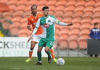 Plymouth Argyle's Ruben Lameiras under pressure from Blackpool's Nathan Delfouneso<br /> <br /> Photographer Kevin Barnes/CameraSport<br /> <br /> The EFL Sky Bet League One - Blackpool v Plymouth Argyle - Saturday 30th March 2019 - Bloomfield Road - Blackpool<br /> <br /> World Copyright © 2019 CameraSport. All rights reserved. 43 Linden Ave. Countesthorpe. Leicester. England. LE8 5PG - Tel: +44 (0) 116 277 4147 - admin@camerasport.com - www.camerasport.com