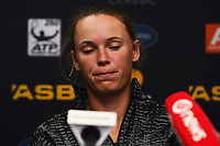Caroline Wozniacki from Demark talks to media after her lost to Julia Goerges from Germany at the ASB Classic WTA Women's Tournament Day 7 Singles Final. ASB Tennis Centre, Auckland, New Zealand. Sunday 7 January 2018. ©Copyright Photo: Chris Symes / www.photosport.nz