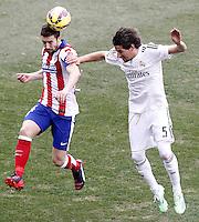 Atletico de Madrid's Gabi Fernandez (l) and Real Madrid's Fabio Coentrao during La Liga match.February 7,2015. (ALTERPHOTOS/Acero) /NORTEphoto.com