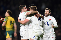 Owen Farrell of England celebrates his second half try with team-mates. Quilter International match between England and Australia on November 24, 2018 at Twickenham Stadium in London, England. Photo by: Patrick Khachfe / Onside Images