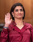 "Seema Verma, Administrator, Centers for Medicare & Medicaid Services, US Department of Health and Human Services is sworn-in prior to their giving testimony before the United States Senate Committee on Homeland Security & Governmental Affairs during a hearing entitled ""Examining CMS's Efforts to Fight Medicaid Fraud and Overpayments"" on Capitol Hill in Washington, DC on Tuesday, August 21, 2018.<br /> Credit: Ron Sachs / CNP"