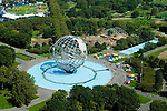 Aerial view of the The Unisphere in Flushing Meadows Park, Queens, New york