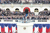 President Donald Trump waves after taking the Oath of Office at the inauguration on January 20, 2017 in Washington, D.C.  Trump became the 45th President of the United States.      <br /> Credit: Pat Benic / Pool via CNP