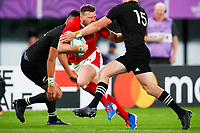 1st November 2019, Tokyo, Japan;  Owen Lane (WAL) runs into contact with Beauden Barrett of New Zealand;  2019 Rugby World Cup 3rd place match between New Zealand 40-17 Wales at Tokyo Stadium in Tokyo, Japan.  - Editorial Use