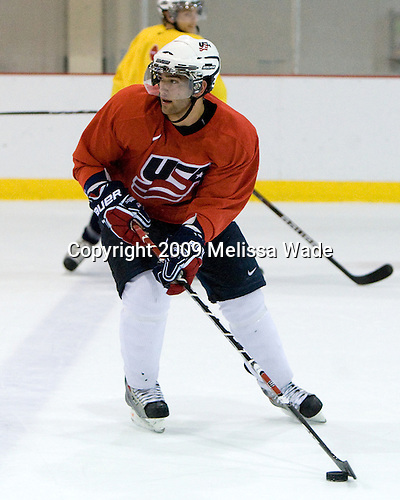 Jerry D'Amigo (US - 9) - Team USA practiced on Thursday, August 13, 2009, in the USA (NHL-sized) Rink in Lake Placid, New York, during the 2009 USA Hockey National Junior Evaluation Camp.