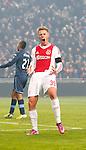 Nederland, Amsterdam, 20 januari 2013.Eredivisie.Seizoen 2012-2013.Ajax-Feyenoord.Viktor Fischer van Ajax mist een kans en schreeuwt het uit.