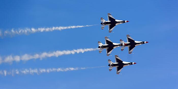 The Thunderbirds air show at Nellis Air Force Base, Las Vegas, Nevada.