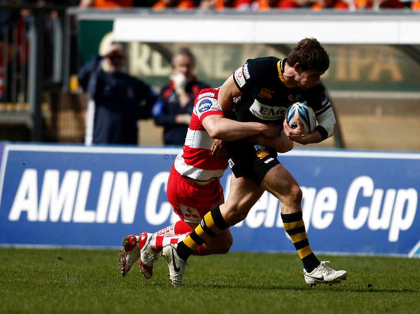 Photo: Richard Lane/Richard Lane Photography. London Wasps v Gloucester Rugby. Amlin Challenge Cup Quarter Final. 11/04/2010. Wasps' Dominic Waldouck is tackled.