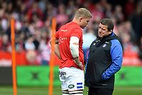 Tom Ellis of Bath Rugby speaks with first team coach Toby Booth. Gallagher Premiership match, between Gloucester Rugby and Bath Rugby on April 13, 2019 at Kingsholm Stadium in Gloucester, England. Photo by: Patrick Khachfe / Onside Images