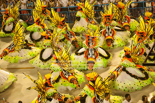Imperatriz Leopolinense Samba School, Carnival, Rio de Janeiro, Brazil, 26th February 2017. Part of the forest paradise parade with samba dancers dressed as butterflies.