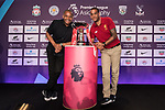 Mark Bright (L) and Phil Babb (R) pose for photo in front of the Premier League Asia Trophy during the press conference for the Premier League Asia Trophy 2017 at the Grand Hyatt Hong Kong on 01 June 2017 in Hong Kong, China. Photo by Chris Wong / Power Sport Images