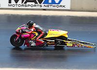 Jul 23, 2017; Morrison, CO, USA; NHRA pro stock motorcycle rider Melissa Surber during the Mile High Nationals at Bandimere Speedway. Mandatory Credit: Mark J. Rebilas-USA TODAY Sports