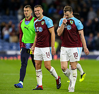 Burnley's Ashley Barnes shares a joke with Ben Gibson after the final whistle<br /> <br /> Photographer Alex Dodd/CameraSport<br /> <br /> UEFA Europa League - Third Qualifying Round 2nd Leg - Burnley v Istanbul Basaksehir - Thursday 16th August 2018 - Turf Moor - Burnley<br />  <br /> World Copyright © 2018 CameraSport. All rights reserved. 43 Linden Ave. Countesthorpe. Leicester. England. LE8 5PG - Tel: +44 (0) 116 277 4147 - admin@camerasport.com - www.camerasport.com