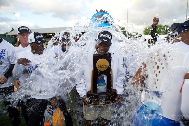 10 JUNE 2016:  Head Coach Mike Holloway of the University of Florida celebrates the Gators victory following the Division I Men's Outdoor Track & Field Championship is held at the Hayward Field in Eugene, OR.  Florida won the team national title.  Stephen Nowland/NCAA Photos