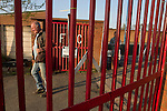 Walsall Wood FC 1 Atherstone Town 0, 02/05/2013. Oak Park, Midland Football Combination Premier Division. A spectator arriving at Oak Park, home to Walsall Wood FC, prior to the club's match against Atherstone Town. The club were crowned champions of the Midland Football Combination premier division the previous night due to results elsewhere, their first league win in 61 years. Walsall Wood, who were formed in 1915, won the match 1-0 watched by 69 spectators. Photo by Colin McPherson.