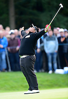 Kiradech Aphibarnrat of Thailand reacts to a putt during Round 4 of the 2015 British Masters at the Marquess Course, Woburn, in Bedfordshire, England on 11/10/15.<br /> Picture: Richard Martin-Roberts | Golffile