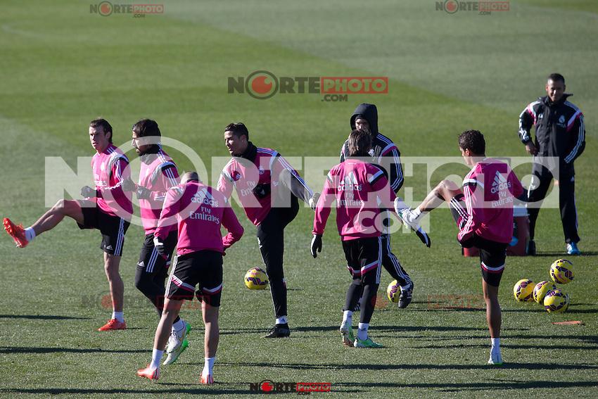 Benzema, Kehedira, Coentrao, Bale and Cristiano Ronaldo during a sesion training at Real Madrid City in Madrid. January 23, 2015. (ALTERPHOTOS/Caro Marin) /NortePhoto<br /> NortePhoto.com