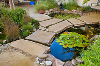 Small backyard water garden and stepping stones using 3 ponds for water filtration