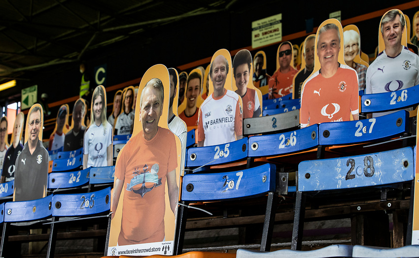 Cardboard cut-outs of fans line the stands at the Kenilworth Road Stadium<br /> <br /> Photographer Andrew Kearns/CameraSport<br /> <br /> The EFL Sky Bet Championship - Luton Town v Preston North End - Saturday 20th June 2020 - Kenilworth Road - Luton<br /> <br /> World Copyright © 2020 CameraSport. All rights reserved. 43 Linden Ave. Countesthorpe. Leicester. England. LE8 5PG - Tel: +44 (0) 116 277 4147 - admin@camerasport.com - www.camerasport.com
