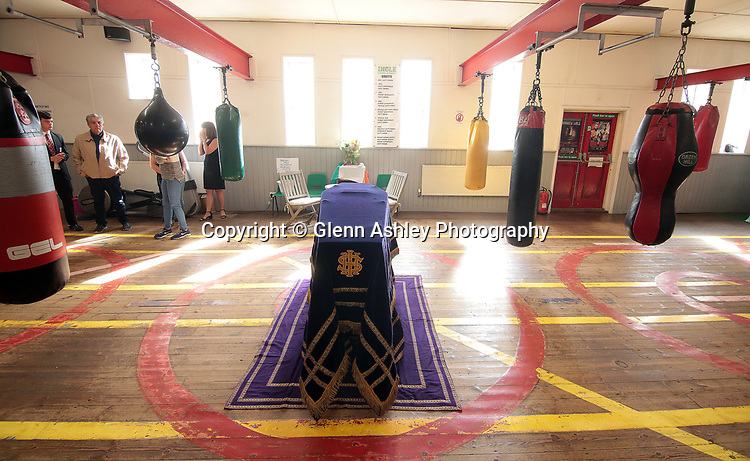 Brendan Ingle's coffin laid out at his gym before the funeral, Sheffield, United Kingdom, 14th June 2018. Photo by Glenn Ashley.
