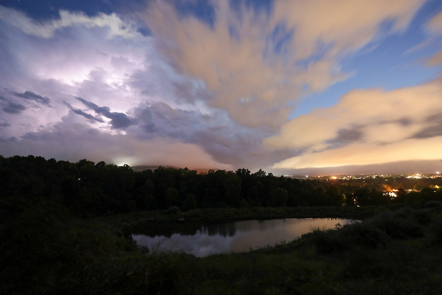 Night views of Charlottesville with inclement weather. Photo/Andrew Shurtleff Photography, LLC