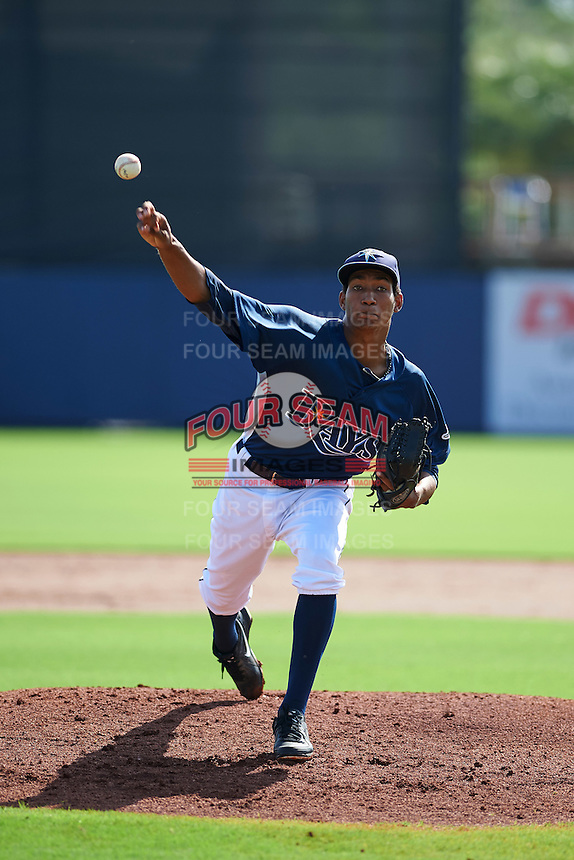 GCL Rays pitcher Jose Disla (45) delivers a pitch during the first game of a doubleheader against the GCL Red Sox on August 4, 2015 at Charlotte Sports Park in Port Charlotte, Florida.  GCL Red Sox defeated the GCL Rays 10-2.  (Mike Janes/Four Seam Images)