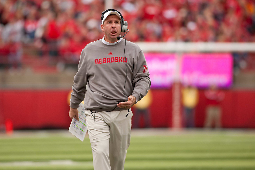 24 October 2009: Nebraska Head Coach Bo Pelini looking to talk to an official in the game against Iowa State at Memorial Stadium in Lincoln, Nebraska. Iowa State defeated Nebraska 9 to 7.