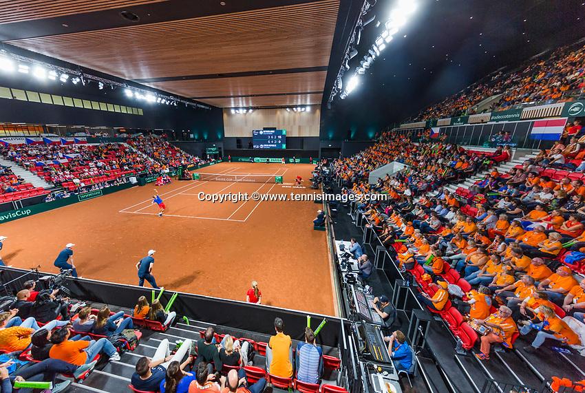 The Hague, The Netherlands, September 17, 2017,  Sportcampus , Davis Cup Netherlands - Chech Republic, Fifth match : Thiemo de Bakker (NED) overall view<br /> Photo: Tennisimages/Henk Koster