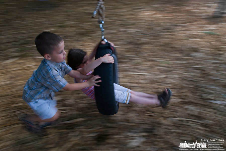 Young boy and girl play on tire swing suspended from tree limb.