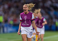 PARIS,  - JUNE 28: Allie Long #20 celebrates during a game between France and USWNT at Parc des Princes on June 28, 2019 in Paris, France.
